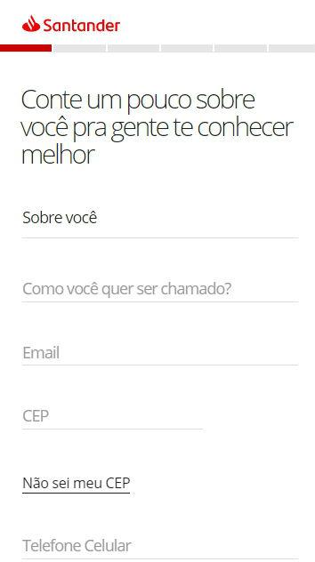Formulário de recolha de dados pessoais